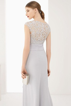 5aeb5dc11a ... Lace Top Cap Sleeve Side Drape Chiffon Long Dress With Waist Flower