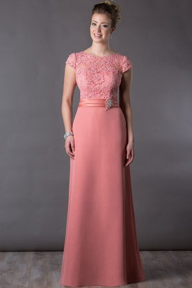 a1878c073 Lace Top Cap Sleeve Long Mother Of The Bride Dress With Crystal And Pearl  Waist