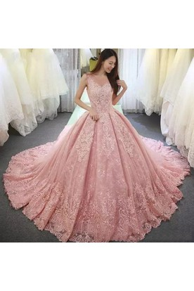 a0269d2ada4 Illusion 3 4 Length Sleeve V-neck Ball Gown Lace Tulle Lace-up Corset ...