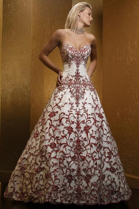A Line Embroidered Sweetheart Floor Length Sleeveless Wedding Dress With Ruching And Beading