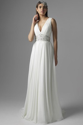 Maxi V Neck Pleated Chiffon Wedding Dress With Sweep Train And Back