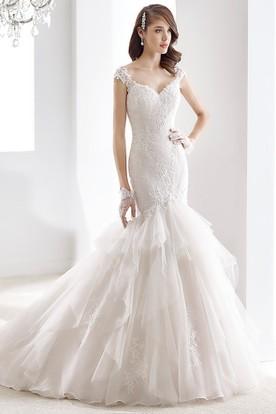 Sweetheart Cap Sleeve Sheath Wedding Dress With Mermaid Style And Tier Ruching Train