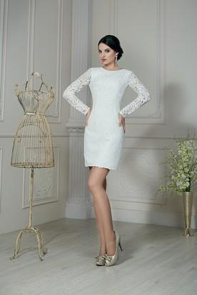 b21e967618 Sheath Short Jewel-Neck Illusion-Sleeve Low-V-Back Lace Dress ...