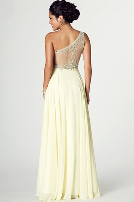 8ba627093fd ... Sleeveless Beaded One-Shoulder Chiffon Prom Dress