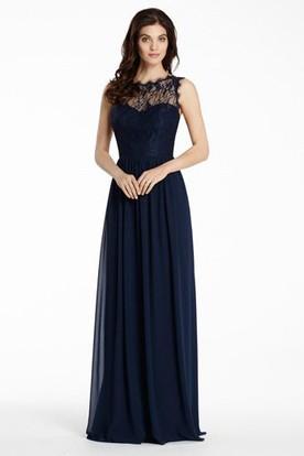 A Line Pleated Bateau Floor Length Sleeveless Chiffon Lace Bridesmaid Dress With Illusion