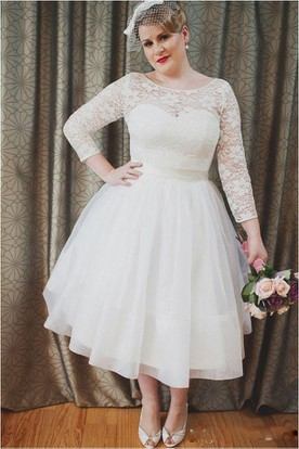 e884e476ec Plus Size Vintage Style Scoop Neckline 3-4 Long Sleeve Lace Tea Length  Bridal Gown ...