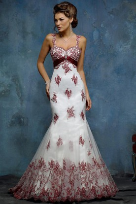 Mermaid Floor Length Appliqued Sleeveless TulleSatin Wedding Dress With Broach And Zipper