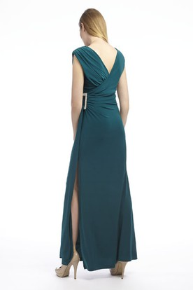 Ankle-Length Ruched V-Neck Chiffon Prom Dress With Split Back
