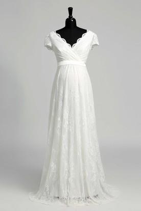 89e2aab1121912 A Line Beach Floor-length Bow Sash Ribbon Lace Maternity Wedding Dress ...