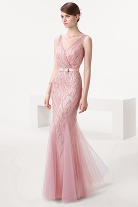 Sheath Sleeveless Floor-Length Beaded V-Neck Tulle Prom Dress