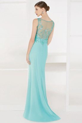 V Neck Sheath Appliqued Empire Waist Long Prom Dress With Illusion Back