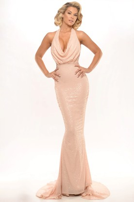 3836bfc5bcb Sheath Sleeveless Sequined Floor-Length Cowl-Neck Prom Dress With Beading  ...
