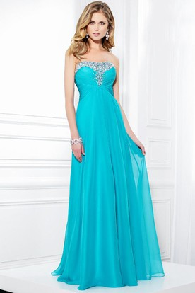 988ce16a216b Floor-Length Sleeveless Strapless Ruched Chiffon Prom Dress With Beading ...
