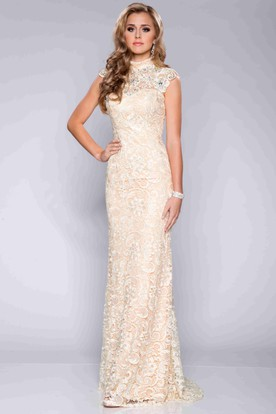 0b504734639 Column Lace Cap Sleeve High Neck Prom Dress With Crystal Detailing ...