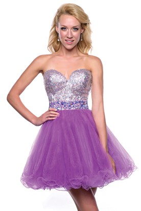 b65dd68b8f1 Sweetheart A-Line Tulle Mini Homecoming Dress With Sequined Bodice ...
