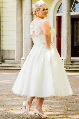 b1286d278c0 ... Scalloped Scoop Neck Tea Length Tulle Bridal Gown With Pearl Lace Top
