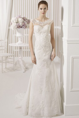 Lace top wedding dresses ucenter dress sheath floor length scoop appliqued cap sleeve lace wedding dress with court train and junglespirit Gallery