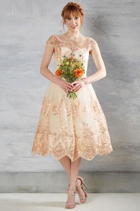 Tea Length A Line Bateau Neck Appliqued Cap Sleeve Lace Wedding Dress