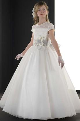 05ab588e30e A-Line Floral Scoop-Neck Short-Sleeve Floor-Length Flower Girl Dress