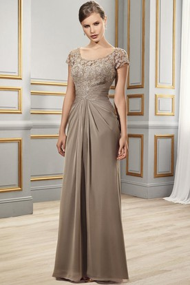 65f9b8d2fa6 Sheath Appliqued Short-Sleeve Scoop Floor-Length Chiffon Formal Dress With  Illusion Back And ...