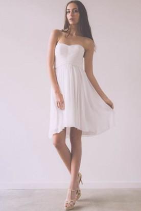 Ruched Sleeveless Short Mini Strapless Chiffon Wedding Dress