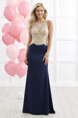 b34d728a0b2 Sheath Long Scoop-Neck Sleeveless Jersey Keyhole Dress With Beading ...