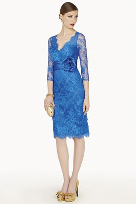 4bcf39591e3 Sheath Appliqued V-Neck Knee-Length 3-4-Sleeve Lace Prom Dress ...