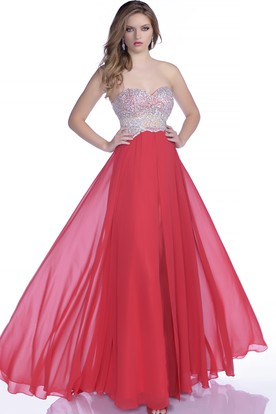 a395f29bd9c A-Line Chiffon Sweetheart Prom Dress Featuring Jeweled Bodice ...
