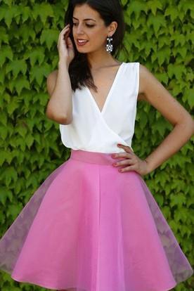 92be888c66 A-line Ball Gown Short Mini Sleeveless V-neck Criss Cross Chiffon Organza  Homecoming ...