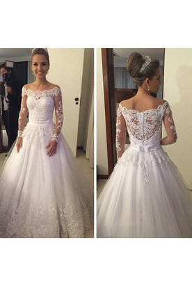 8749a342 Elegant Long Sleeve Pleated A-line Lace Gown With Lace Back and Bow Belt