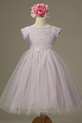 631e3fa1936 Tea-Length Cap-Sleeve Appliqued Tulle Lace Flower Girl Dress