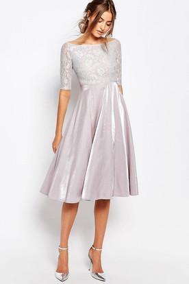 0a5303458c Knee-Length A-Line Bateau Neck Illusion Sleeve Taffeta Bridesmaid Dress ...