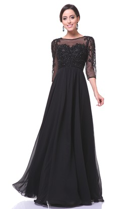 6ab002baa34c A-Line Floor-Length Bateau Half Sleeve Chiffon Illusion Dress With Beading  ...