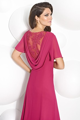 1a8792aa29 ... Tea-Length Appliqued Poet Sleeve Cowl Neck Chiffon Mother Of The Bride  Dress