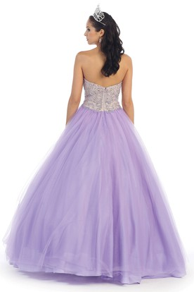 6338832bda ... Ball Gown Sweetheart Sleeveless Tulle Backless Dress With Beading