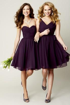 Knee Length Ruched Sleeveless V Neck Chiffon Bridesmaid Dress
