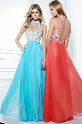 High Neck Sleeveless Beaded Chiffon Prom Dress With Keyhole ... 5ed661a3f