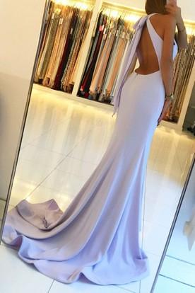 476074fd9ff ... Sleeveless Sweep Brush Train Mermaid Trumpet Halter Satin Dress