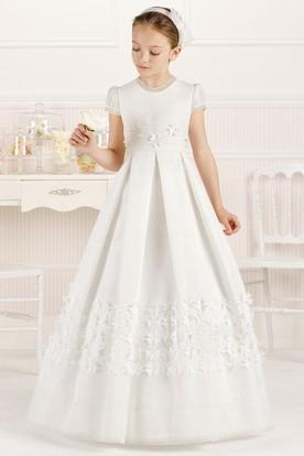 4dcf09e4cc03 A-Line Short-Sleeve Scoop-Neck Floral Floor-Length Satin Flower Girl