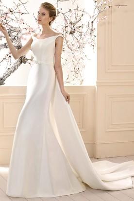 Sheath V Neck Floral Maxi Satin Wedding Dress ...