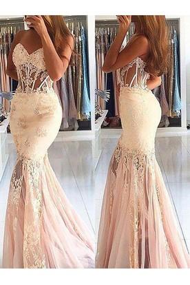 15ab9ebdb74b Sleeveless Sweep Brush Train Mermaid Trumpet Sweetheart Lace Tulle Dress