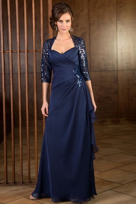 3 4 Sleeved Long Mother Of The Bride Dress With Ruffles And Sequins