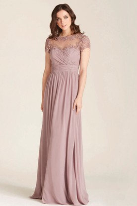 Liqued Bateau Neck Illusion Sleeve Chiffon Bridesmaid Dress