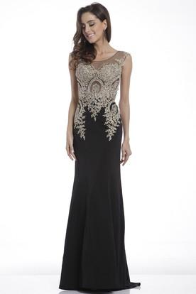 12834e0d0d Sheath Scoop-Neck Sleeveless Jersey Illusion Dress With Beading ...