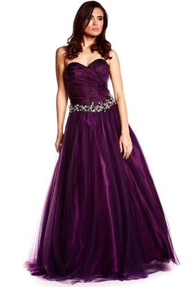 bb8484bbd2 A-Line Floor-Length Criss-Cross Sweetheart Sleeveless Tulle Satin Prom Dress  With Waist ...