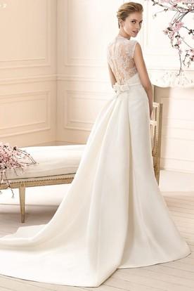 Sheath Sleeveless High Neck Lace Long Satin Wedding Dress