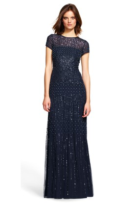 34507a8b0467 Floor-Length Sheath Short Sleeve Jewel Neck Beaded Sequin Bridesmaid Dress  ...