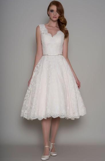 BessWedding Womens Knee Length Jewel Sleeveless with Bead Bridal Wedding Dresses