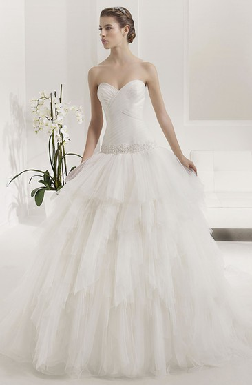Ball Gown Caped Long Sweetheart Tulle Wedding Dress With Waist ...