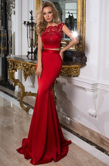 0cafd20877 Trumpet Cap-Sleeve Scoop-Neck Floor-Length Lace Satin Prom Dress